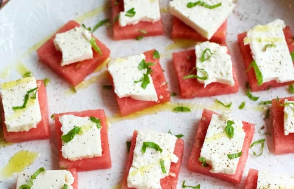 small squares of watermelon bites with feta cheese