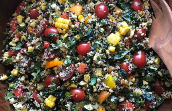 southwest kale salad with fresh corn