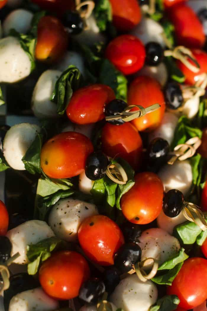 Easy 4th of July Blueberry Caprese Skewers