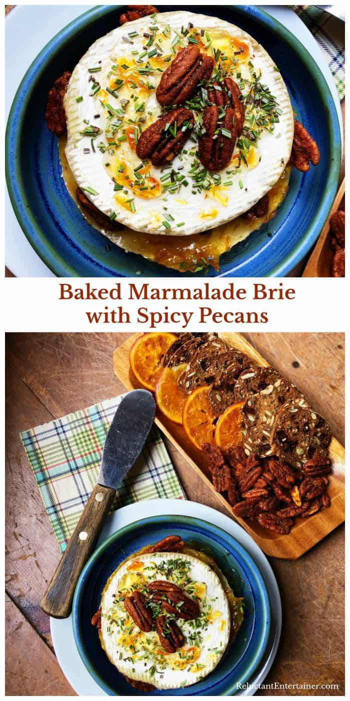 Baked Marmalade Brie with Spicy Pecans Recipe
