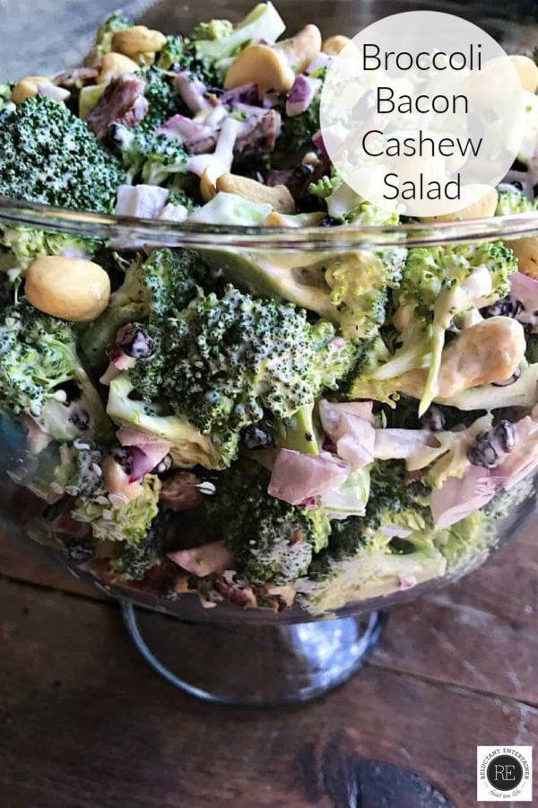 glass bowl of Broccoli Bacon Cashew Salad