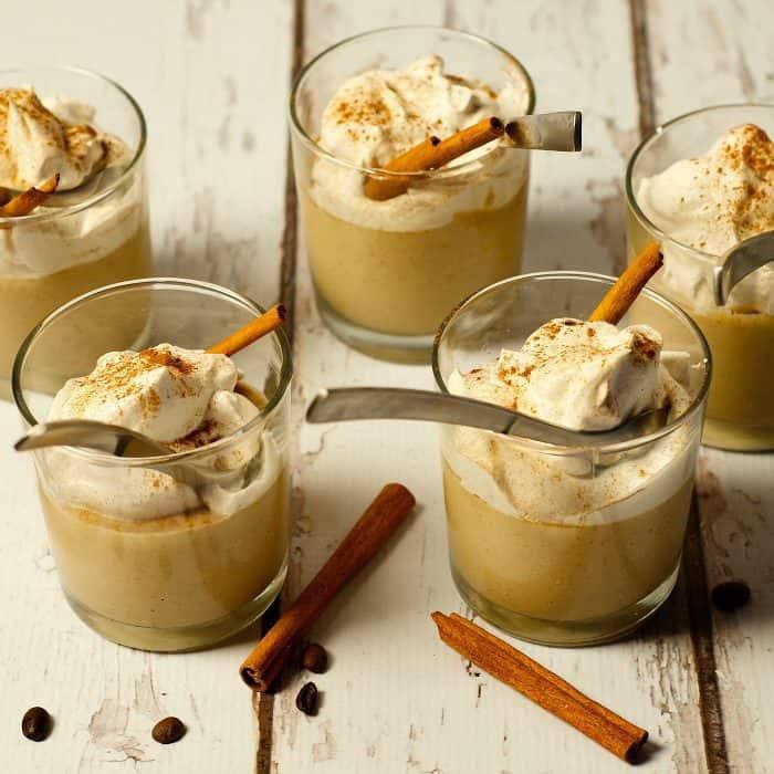 Coffee Cinnamon Pudding with Sweet Cream Dessert