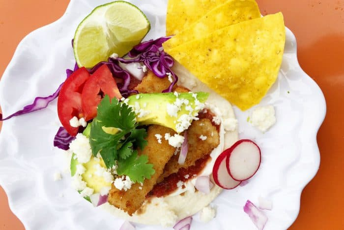 Crunchy Breaded Fish Sticks Taco