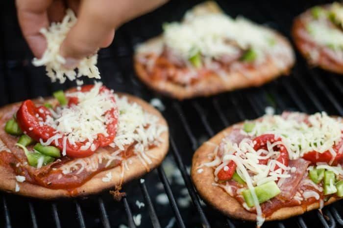 Grilled Flatbread Pizza - sprinkled cheese