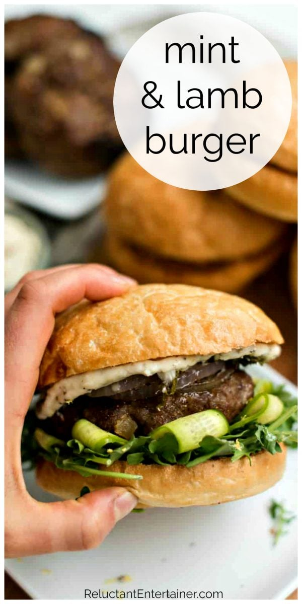 a delicious mint lamb burger with fig jam on bun