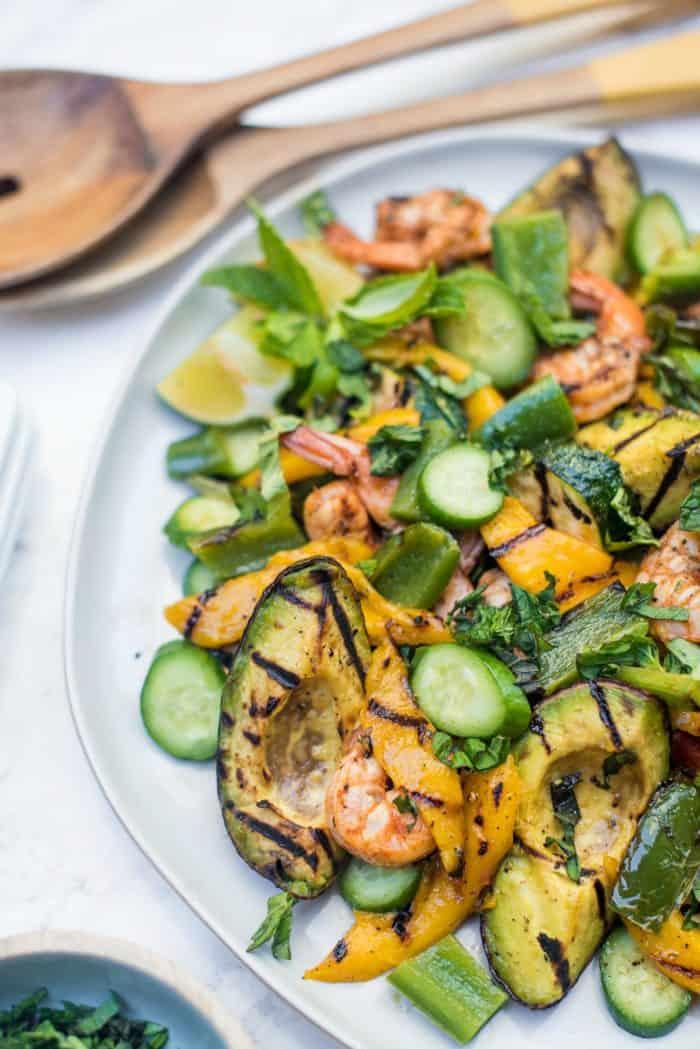 Grilled Avocado Mango Shrimp Salad
