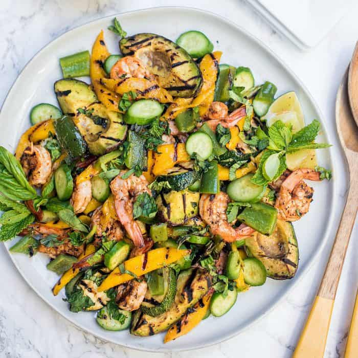 BEST Grilled Avocado Mango Shrimp Salad