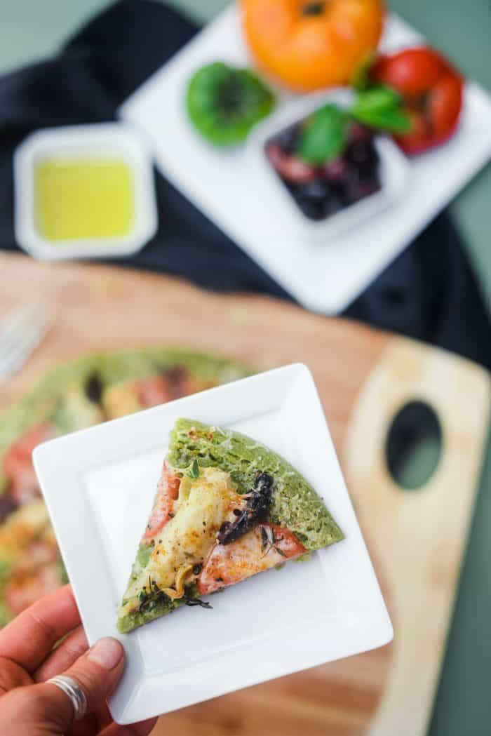 Slice of Parsley Infused Pesto Socca Pizza