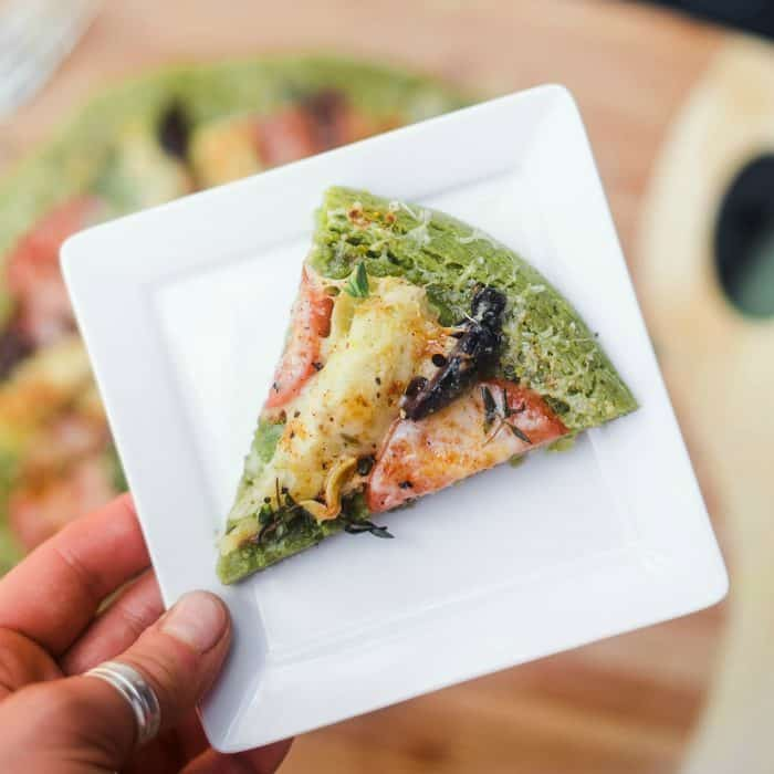 BITE of Parsley Infused Pesto Socca Pizza