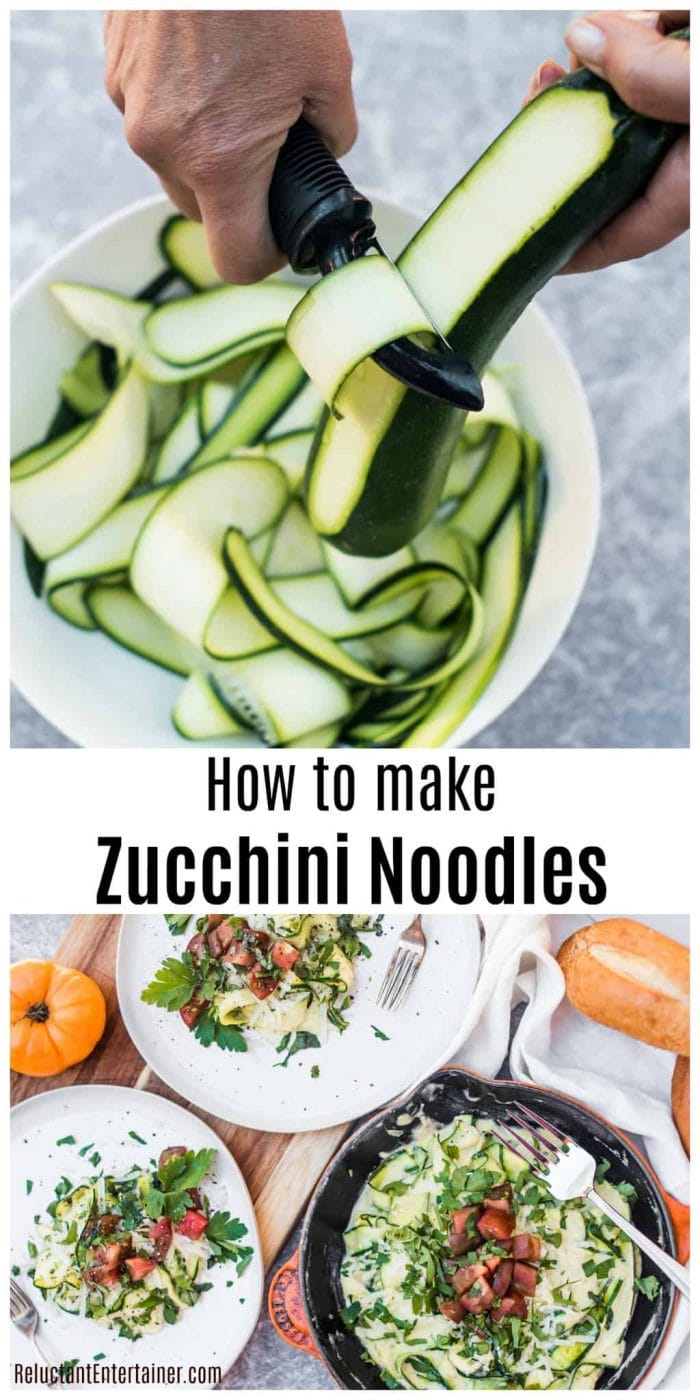 peeling a zucchini with peeler and a plate of cooked zucchini noodles with fresh tomatoes