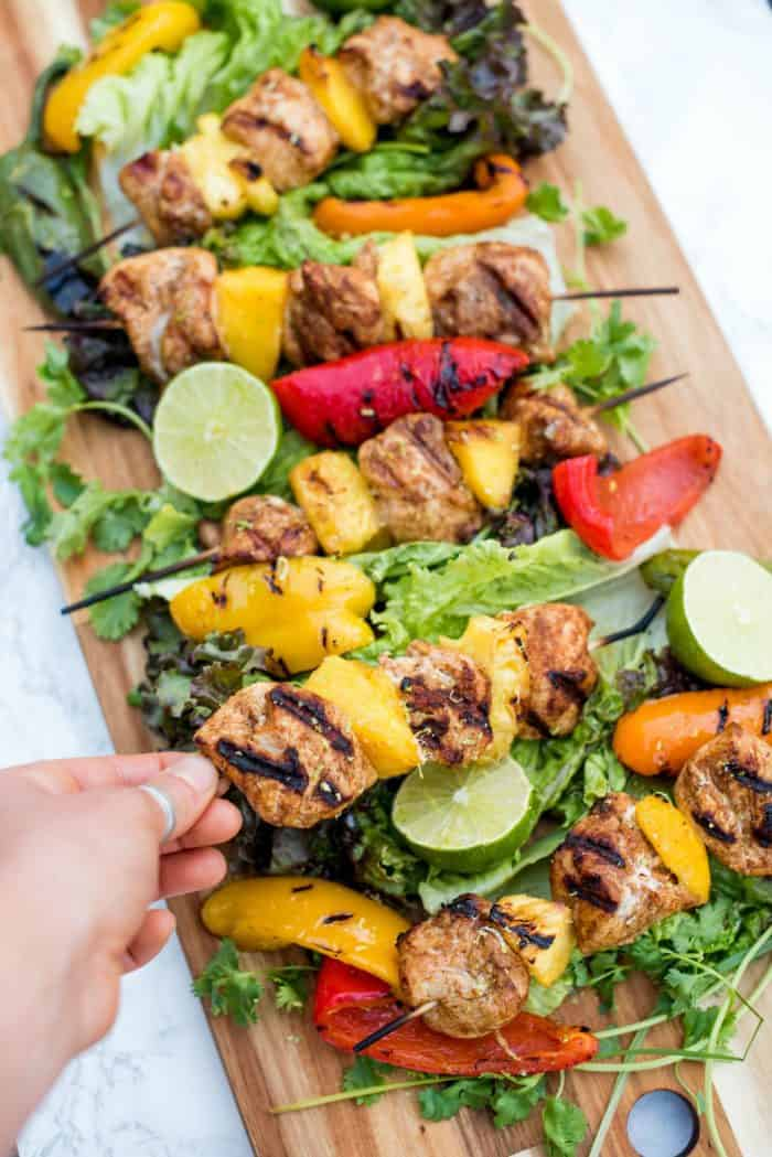 Easy Pineapple Mango Grilled Chicken Skewers