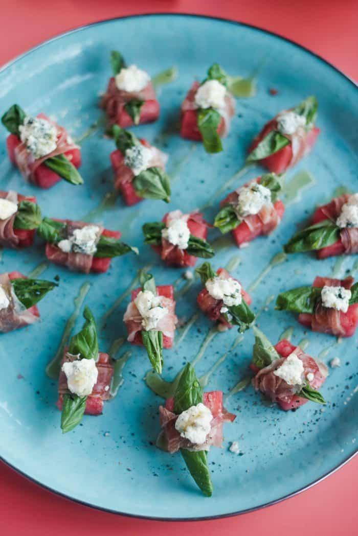 easy Watermelon Blue Cheese Prosciutto Bites