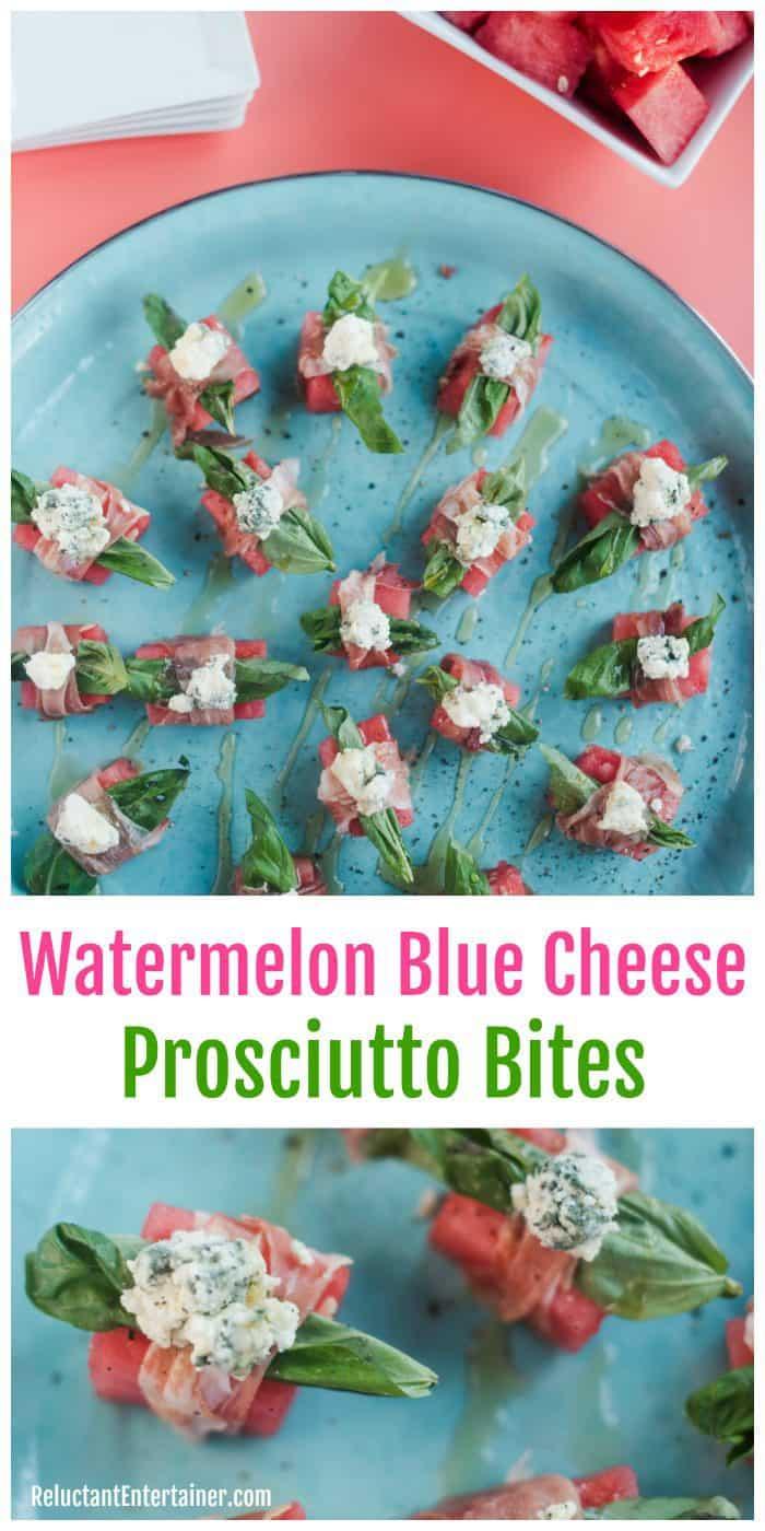 Watermelon Blue Cheese Prosciutto Bites Appetizer