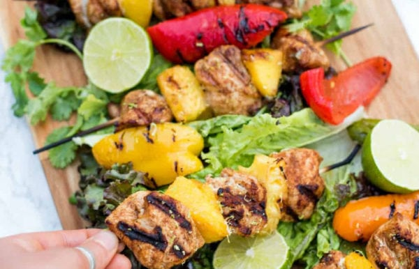 chicken skewer with pineapple and mango