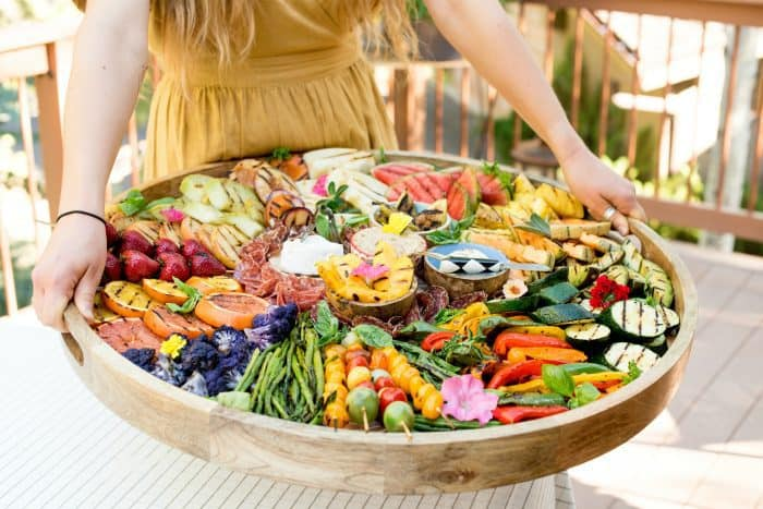 Beautiful Grilled Fruit Vegetable Charcuterie Board