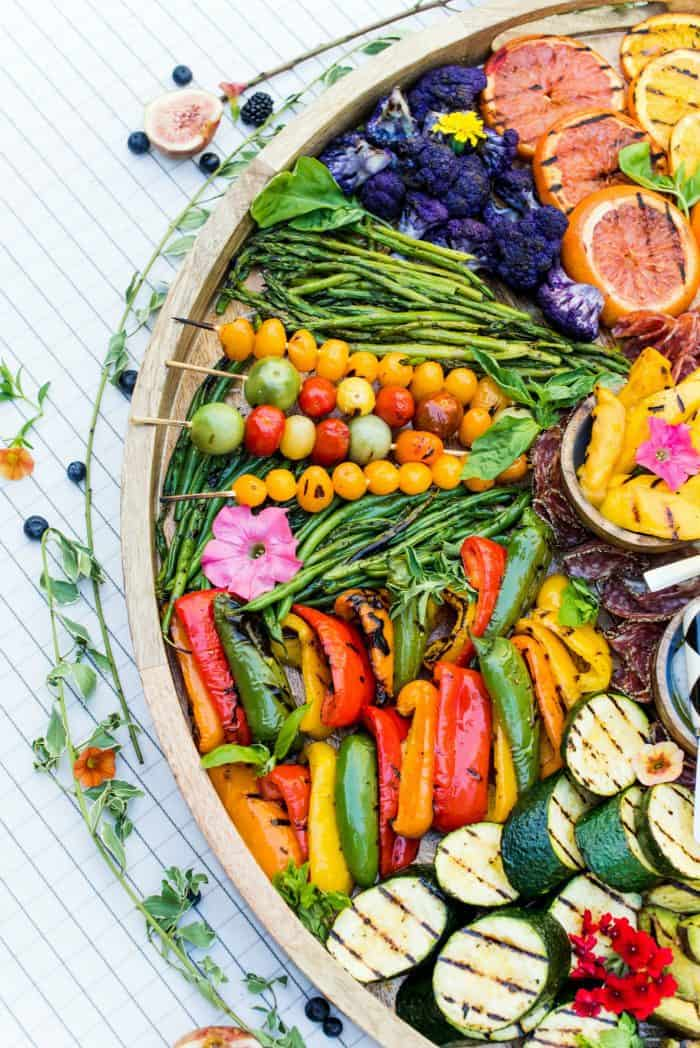 BEST Grilled Fruit Vegetable Charcuterie Board
