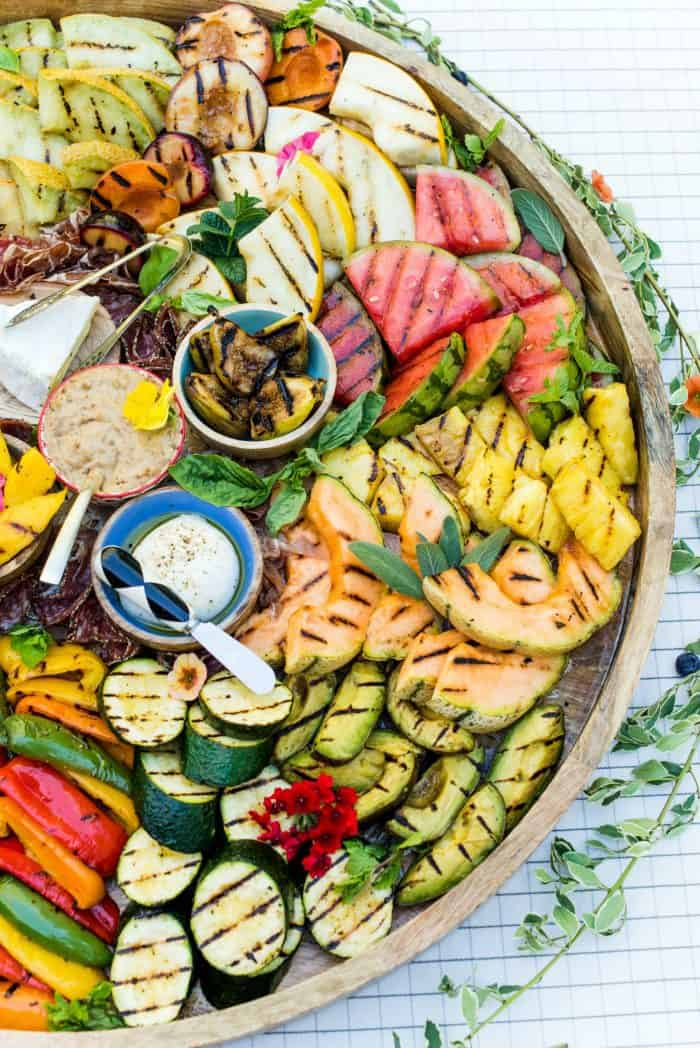 DELICIOUS Grilled Fruit Vegetable Charcuterie Board