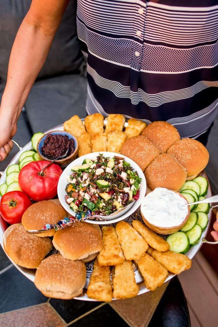Easy Mediterranean Fish Burger Dinner Board