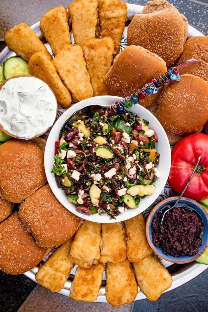 Mediterranean Fish Burger Dinner Board