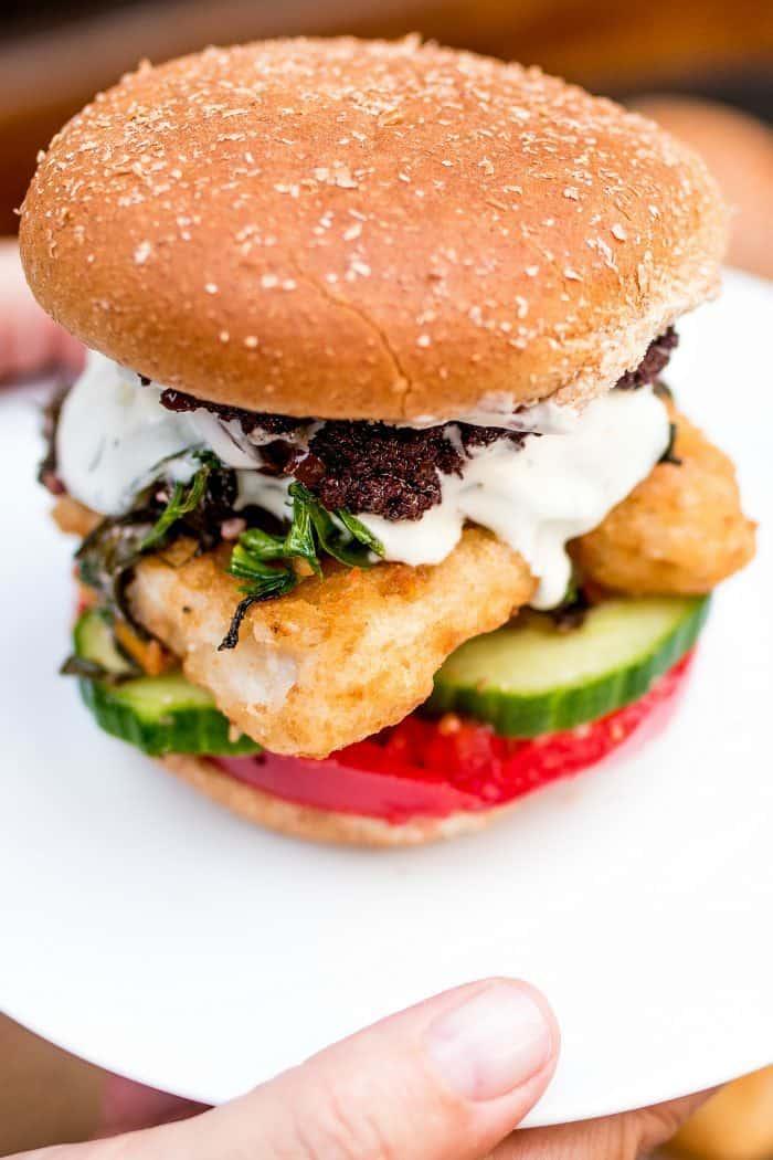 Casual Mediterranean Fish Burger Dinner Board