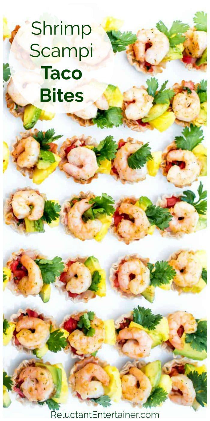 plate of 24 little shrimp taco bites