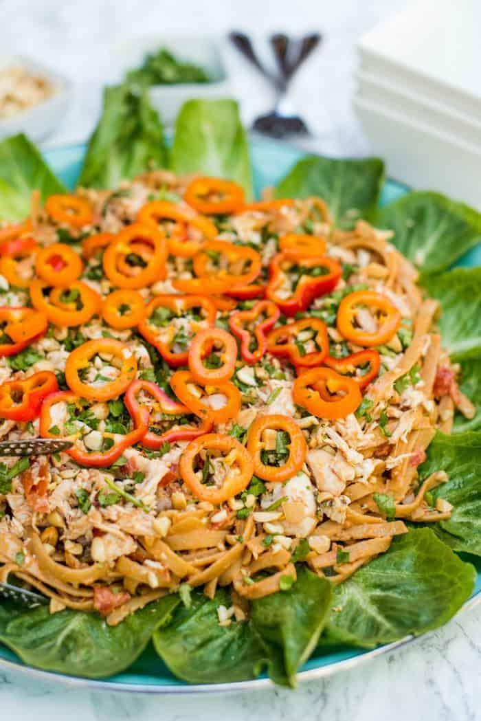 EASY Thai Chicken Fettuccine Salad Recipe
