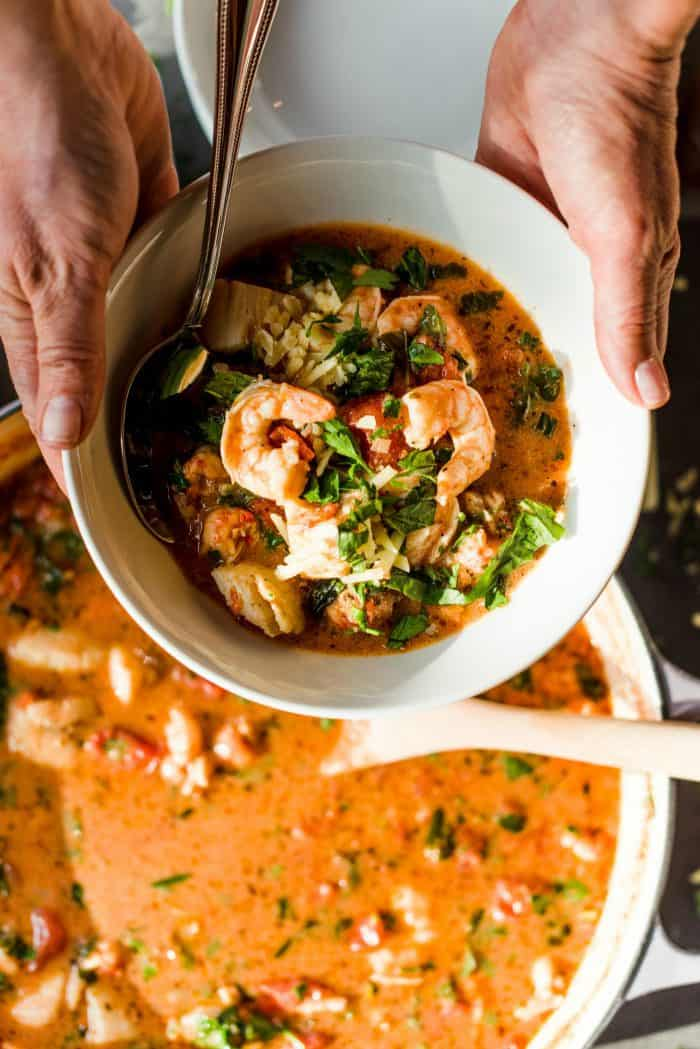 Coconut Milk Tomato Mixed Seafood Soup