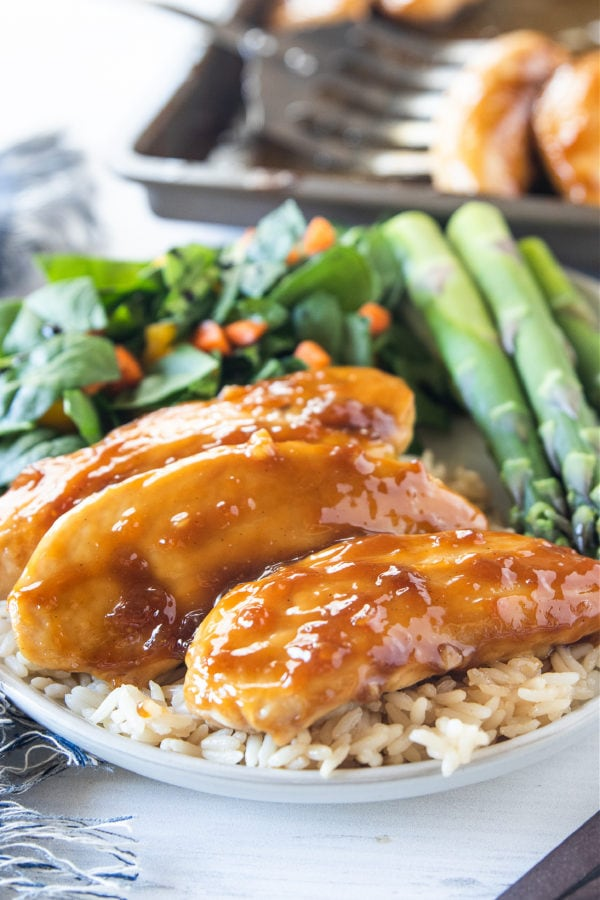 Baked Teriyaki Chicken Tenders with rice and asparagus