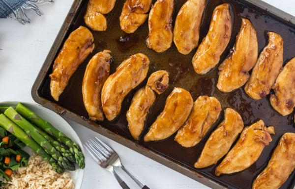 Baked Teriyaki Chicken Tenders on baking sheet