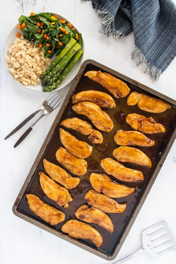 baking pan of Baked Teriyaki Chicken Tenders