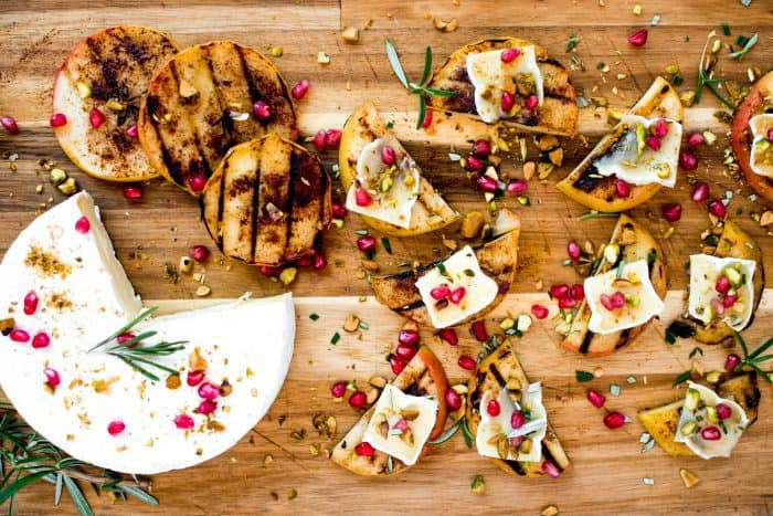 Tasty Grilled Apple Pistachio Pomegranate Brie Bites
