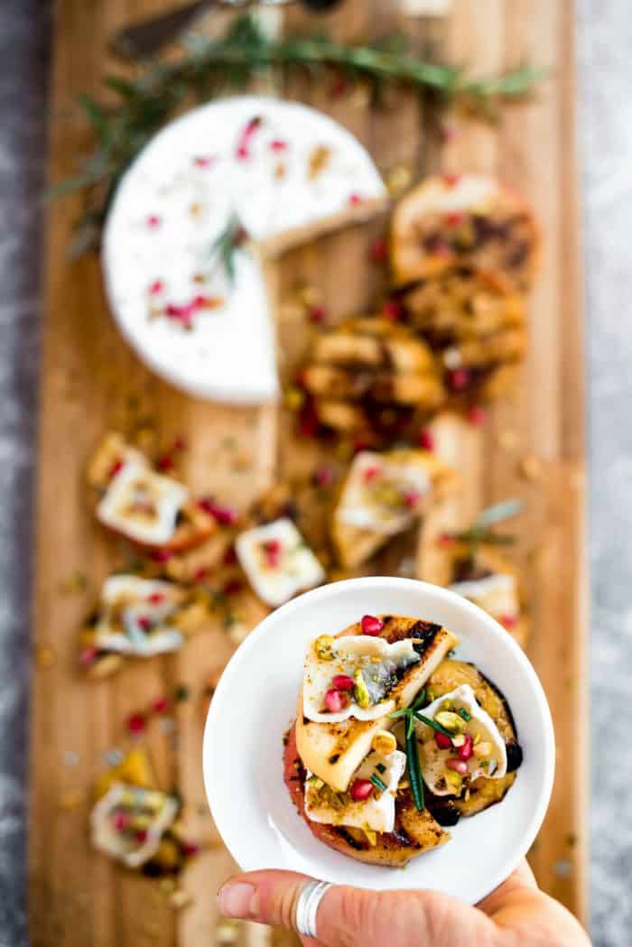SO GOOD Grilled Apple Pistachio Pomegranate Brie Bites