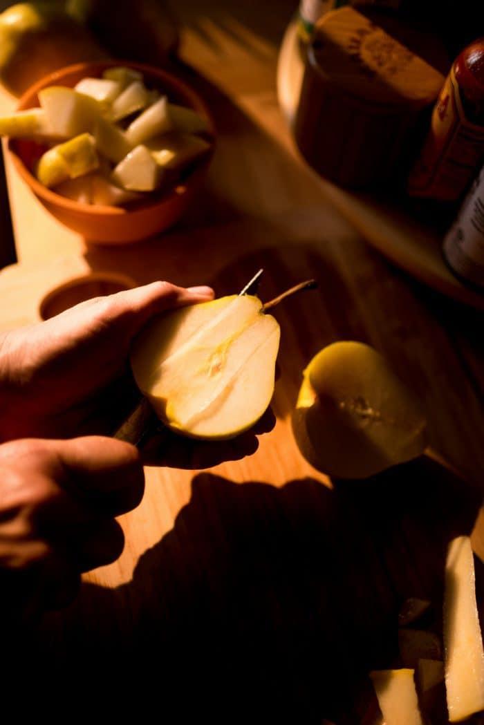 DELISH No-Peel Easy Pear Cobbler - cutting pears