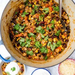pot of pumpkin chili