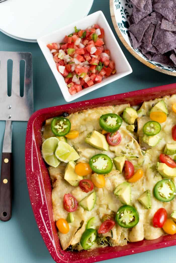 Best Zucchini Cheese Enchiladas Verde with tomatoes and avocados