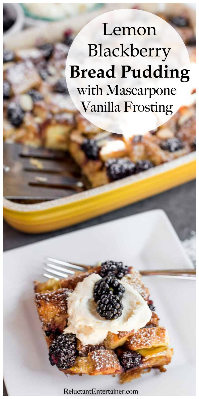 Lemon Blackberry Bread Pudding with Mascarpone Vanilla Frosting