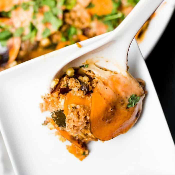 Mexican Sweet Potato Quinoa Casserole - perfect bite