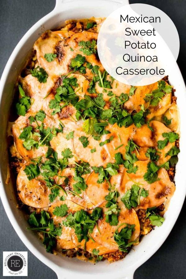 baking pan of Mexican Sweet Potato Quinoa Casserole