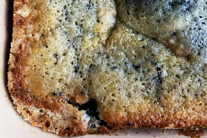 close up shot of blueberry buckle cake