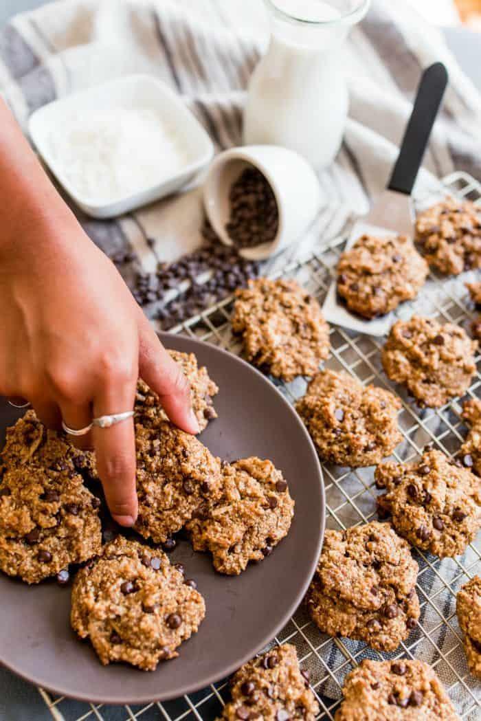 BEST Vegan Tahini Coconut Chocolate Cookies