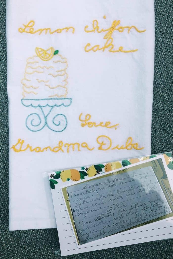 Tea Towel - Lemon Chiffon Cake Grandma's writing