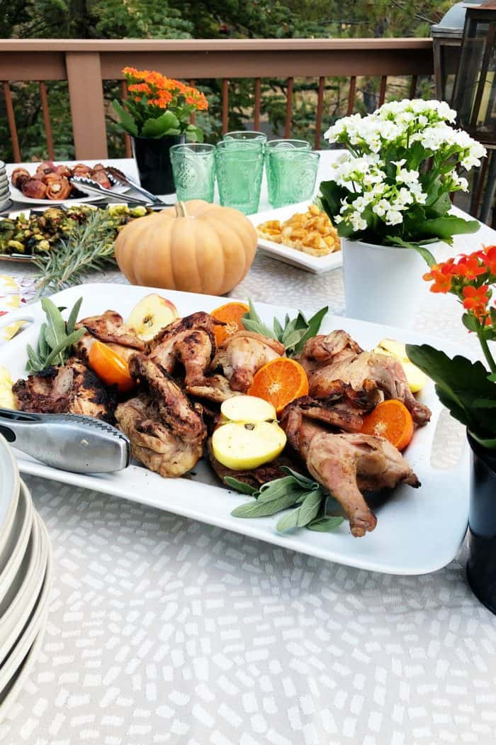 Grilled Cornish Game Hens - set the table