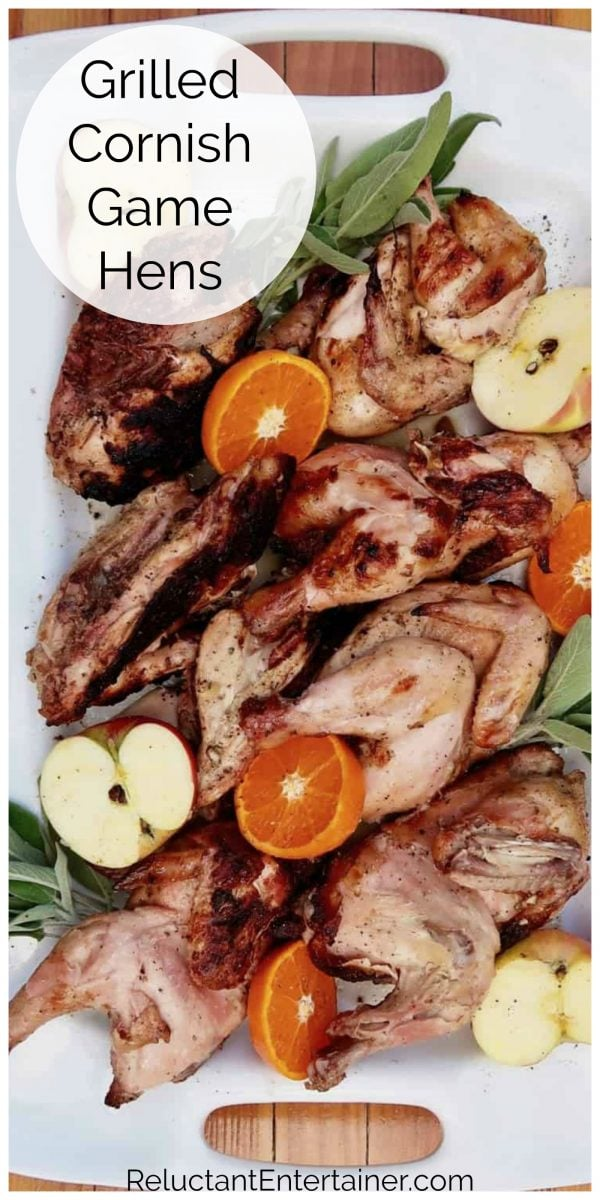 platter of grilled cornish game hens
