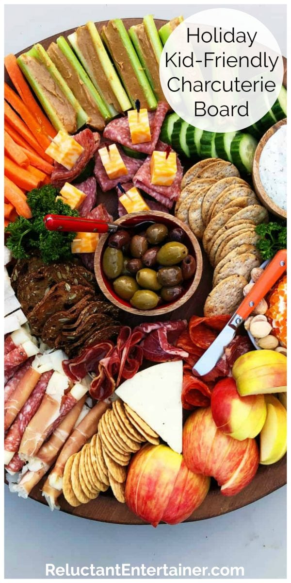 a round platter of kid-friendly charcuterie snacks for kids
