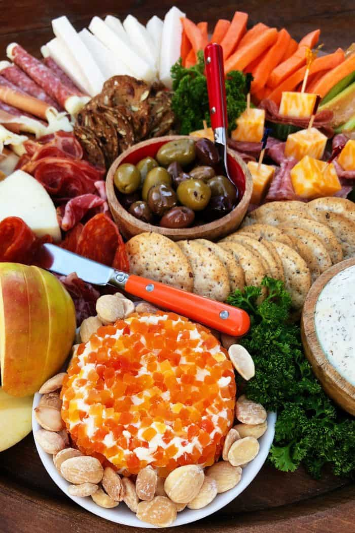 Holiday Kid-Friendly Charcuterie Board - cheese ball