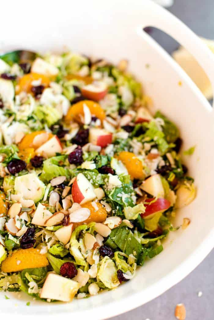 Easy Shaved Brussels Sprout Salad with Vinaigrette