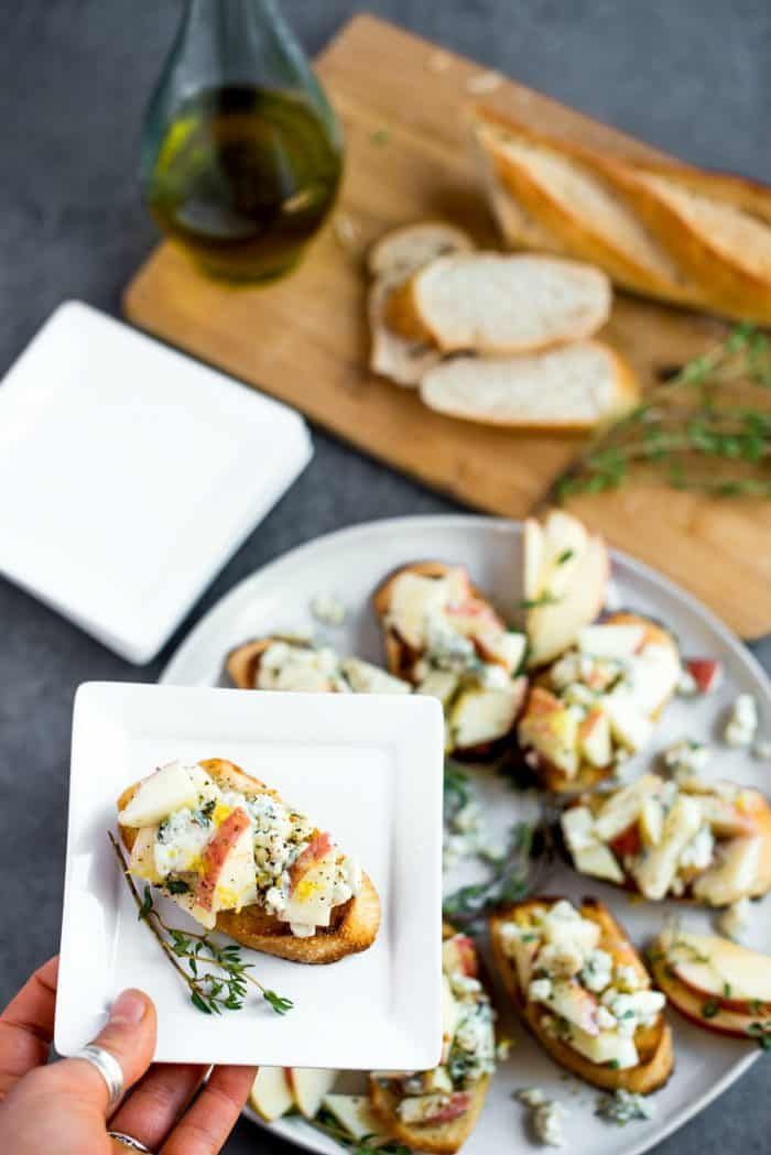 serving of Apple Blue Cheese Crostini Appetizer