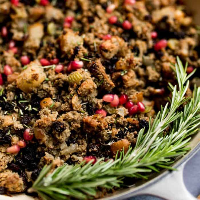 The BEST Blue Cornbread Asian Pear Sausage Stuffing
