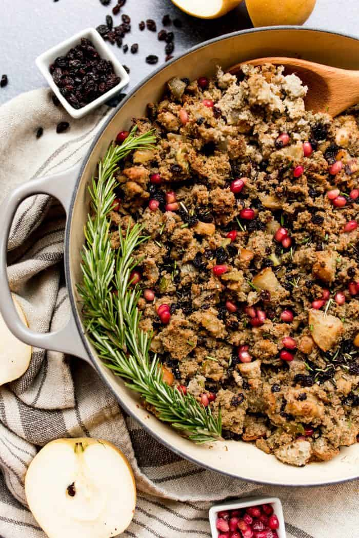 Easy Blue Cornbread Asian Pear Sausage Stuffing