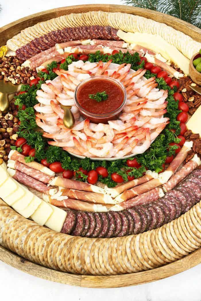 Festive Epic Shrimp Cocktail Charcuterie Board